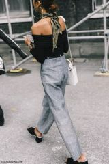 strapless t-shirt + grey pants + withe bag + shoes
