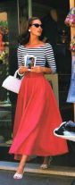 red long skirt + stripes t-shirt + withe bag